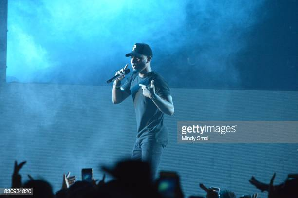 Recording artist Bryson Tiller performs at The Joint inside the Hard Rock Hotel Casino on August 12 2017 in Las Vegas Nevada