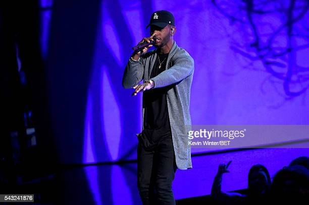 Recording artist Bryson Tiller performs onstage during the 2016 BET Awards at the Microsoft Theater on June 26 2016 in Los Angeles California