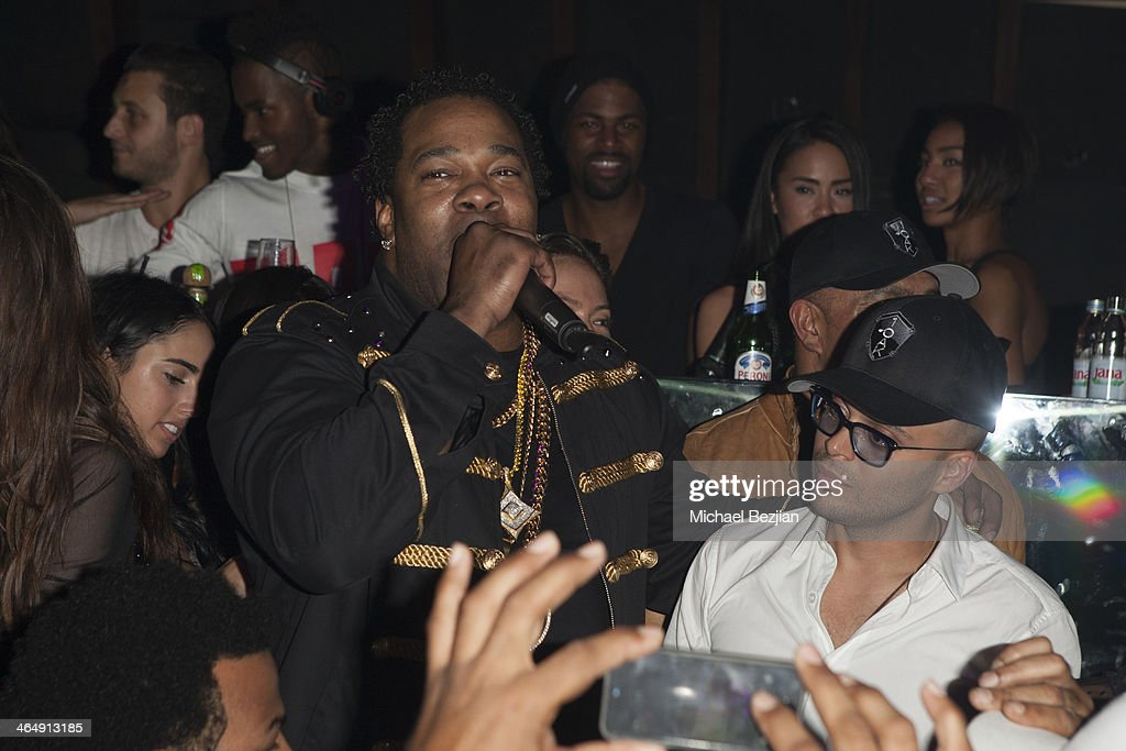 Recording Artist Busta Rhymes with 1 OAK owner Richie Akiva addresses the crowd at 1 OAK LA Grand Opening With Special Performance By Steven Tyler at...