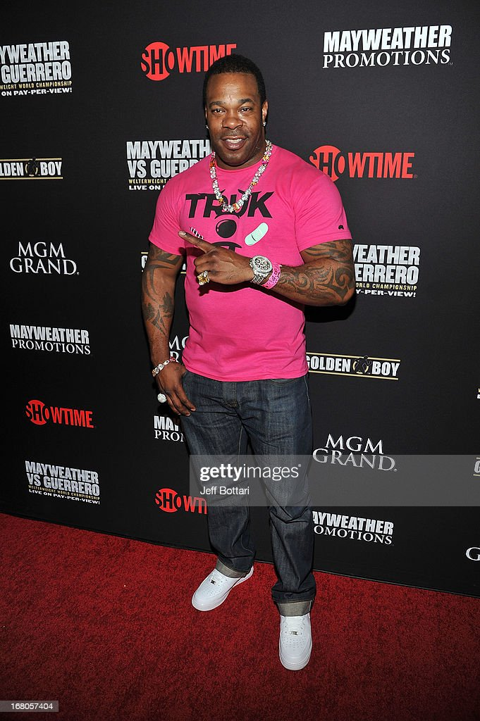 Recording artist Busta Ryhmes arrives at a VIP pre-fight party at the WBC welterweight title fight between Floyd Mayweather Jr. and Robert Guerrero at the MGM Grand Hotel/Casino on May 4, 2013 in Las Vegas, Nevada.