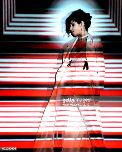 Recording artist Camila Cabello performs onstage at Nickelodeon's 2017 Kids' Choice Awards at USC Galen Center on March 11 2017 in Los Angeles...