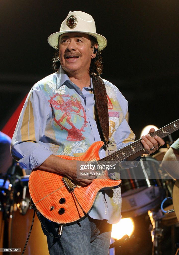 Recording artist Carlos Santana performs onstage during rehearsals for the 13th annual Latin GRAMMY Awards at the Mandalay Bay Events Center on November 14, 2012 in Las Vegas, Nevada.