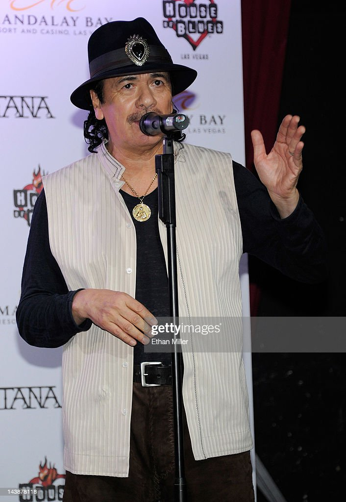 Recording artist Carlos Santana speaks at the House of Blues inside the Mandalay Bay Resort & Casino during a mud ceremony May 4, 2012 in Las Vegas, Nevada. The ceremony involved combining dirt from the town of Clarksdale in the Mississippi Delta with dirt from Bethel, New York from the site of the Woodstock Festival and mud from Santana's hometown of Autlan de Navarro, Jalisco in Mexico to symbolize his two-year residency at the music venue.
