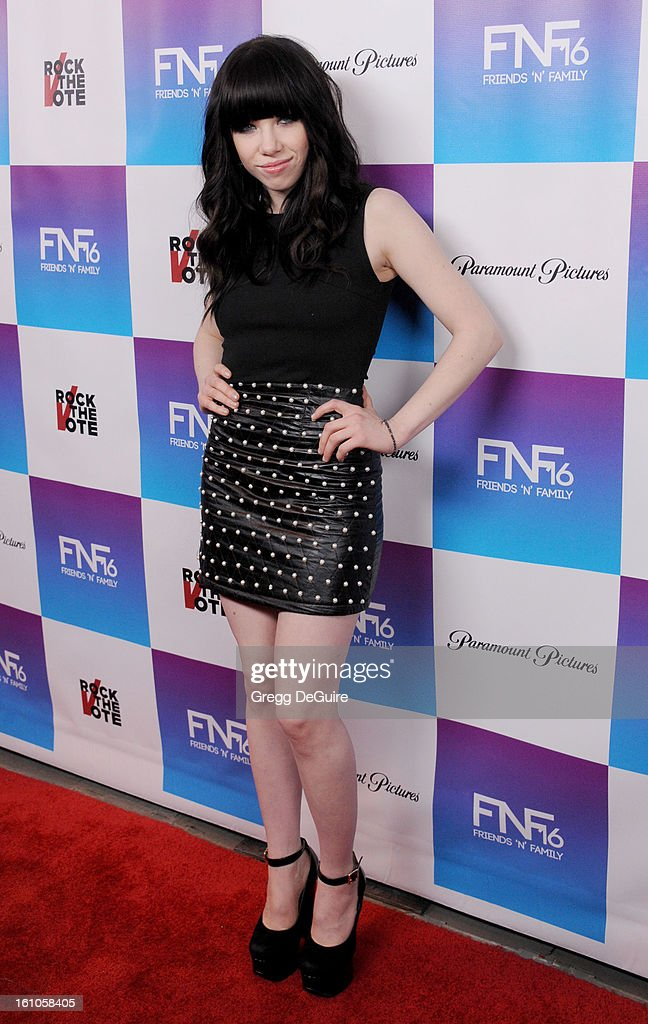 Recording artist <a gi-track='captionPersonalityLinkClicked' href=/galleries/search?phrase=Carly+Rae+Jepsen&family=editorial&specificpeople=6903584 ng-click='$event.stopPropagation()'>Carly Rae Jepsen</a> arrives at The Grammy Awards: Friends 'N' Family party at Paramount Studios on February 8, 2013 in Hollywood, California.