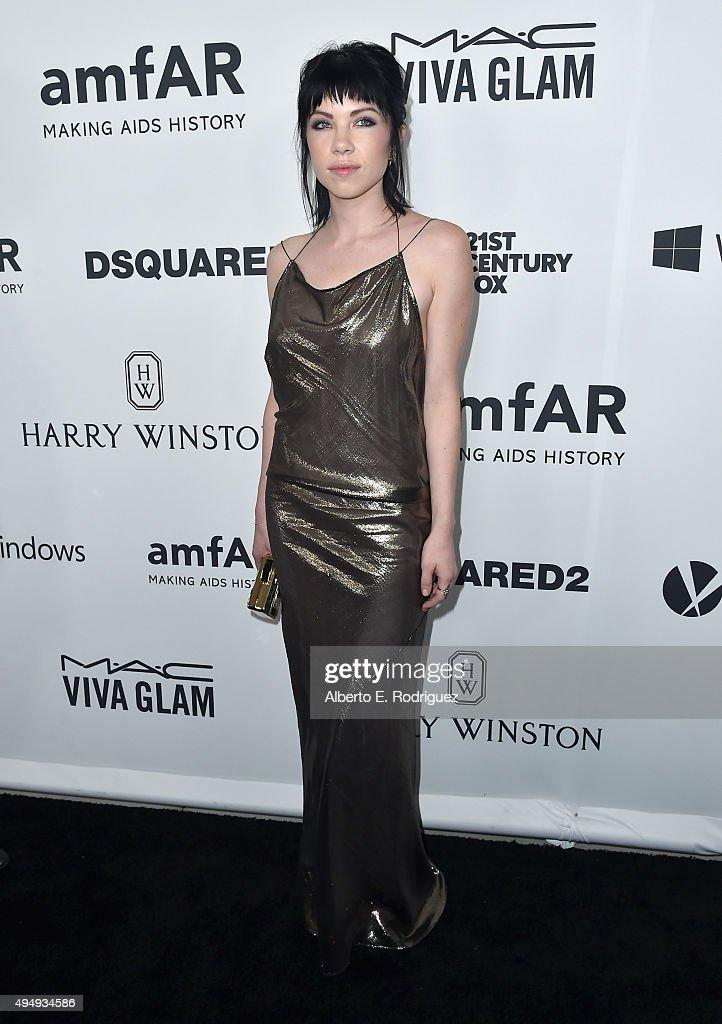 Recording artist Carly Rae Jepsen attends amfAR's Inspiration Gala Los Angeles at Milk Studios on October 29, 2015 in Hollywood, California.