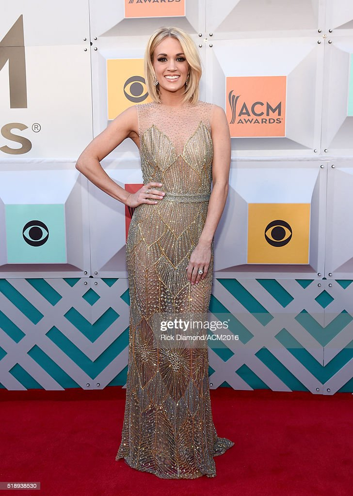 Recording artist <a gi-track='captionPersonalityLinkClicked' href=/galleries/search?phrase=Carrie+Underwood&family=editorial&specificpeople=204483 ng-click='$event.stopPropagation()'>Carrie Underwood</a> attends the 51st Academy of Country Music Awards at MGM Grand Garden Arena on April 3, 2016 in Las Vegas, Nevada.