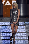 Recording artist Carrie Underwood performs during the 51st Academy of Country Music Awards at MGM Grand Garden Arena on April 3 2016 in Las Vegas...
