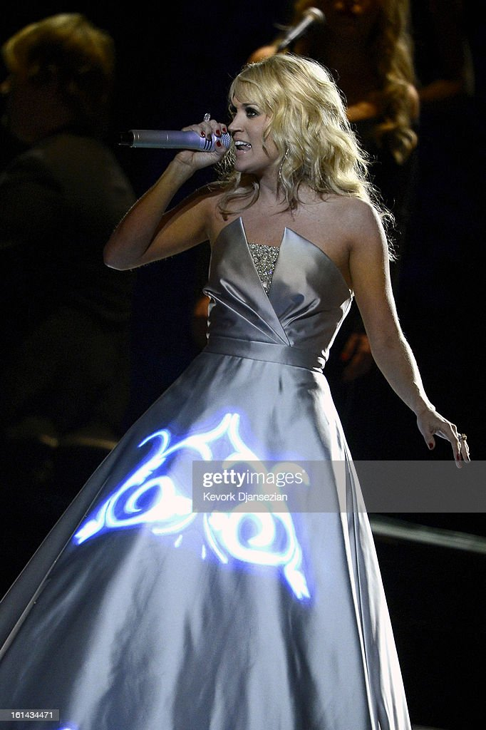 Recording artist Carrie Underwood performs onstage at the 55th Annual GRAMMY Awards at Staples Center on February 10, 2013 in Los Angeles, California.