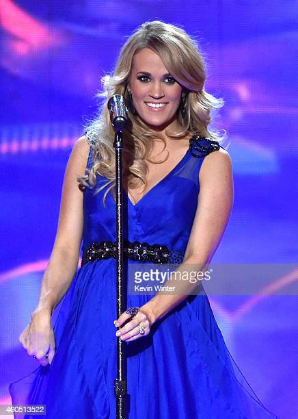 Recording artist Carrie Underwood performs onstage during the 2014 American Country Countdown Awards at Music City Center on December 15 2014 in...