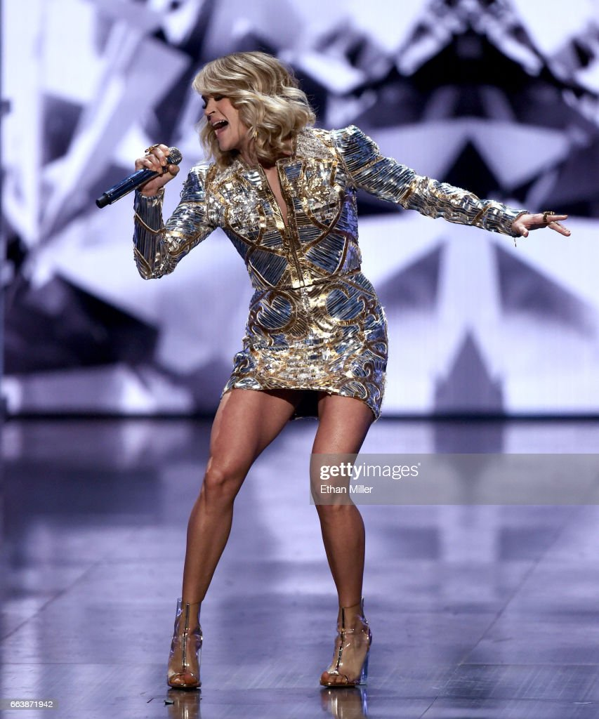 Recording artist Carrie Underwood performs onstage during the 52nd Academy of Country Music Awards at T-Mobile Arena on April 2, 2017 in Las Vegas, Nevada.