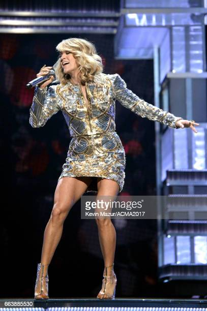 Recording artist Carrie Underwood performs onstage during the 52nd Academy of Country Music Awards at TMobile Arena on April 2 2017 in Las Vegas...