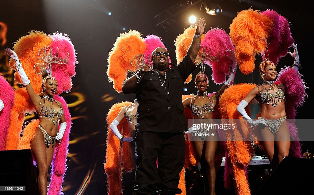 Recording artist Cee Lo Green performs with showgirls from the 'Jubilee!' show at the Keep Memory Alive foundation's 'Power of Love Gala' celebrating Muhammad Ali's 70th birthday at the MGM Grand Garden Arena February 18, 2012 in Las Vegas, Nevada. The event benefits the Cleveland Clinic Lou Ruvo Center for Brain Health and the Muhammad Ali Center.