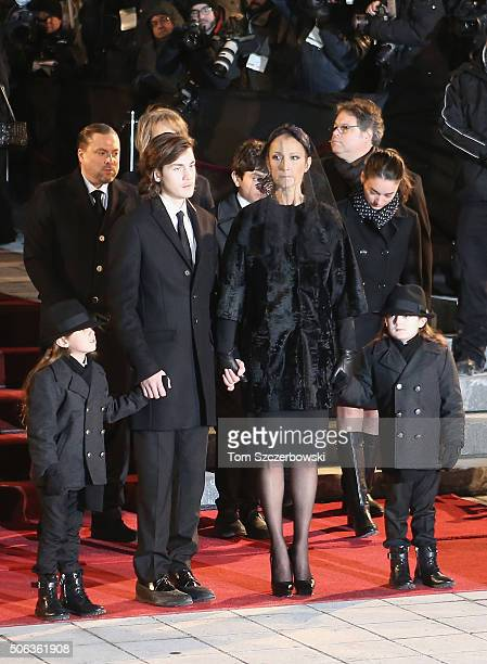 Recording artist Celine Dion and children ReneCharles Angelil Eddy Angelil and Nelson Angelil attend the State Funeral Service for Celine Dion's...