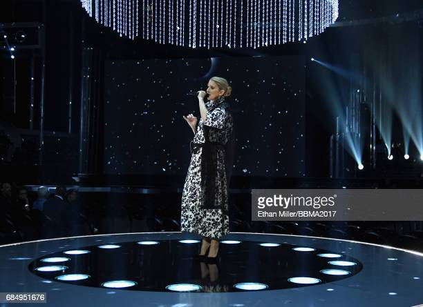 Recording artist Celine Dion rehearses onstage for the 2017 Billboard Music Awards at TMobile Arena on May 18 2017 in Las Vegas Nevada