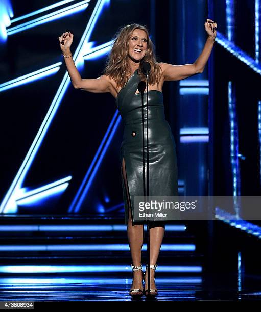 Recording artist Celine Dion speaks onstage during the 2015 Billboard Music Awards at MGM Grand Garden Arena on May 17 2015 in Las Vegas Nevada