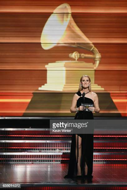 Recording artist Celine Dion speaks onstage during The 59th GRAMMY Awards at STAPLES Center on February 12 2017 in Los Angeles California