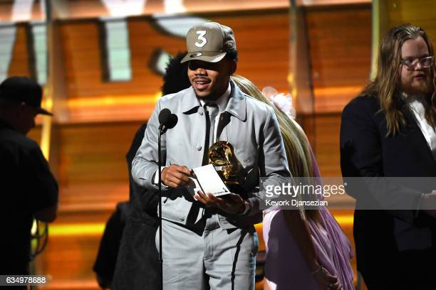 Recording artist Chance the Rapper accepts the award for Best New Artist onstage during The 59th GRAMMY Awards at STAPLES Center on February 12 2017...