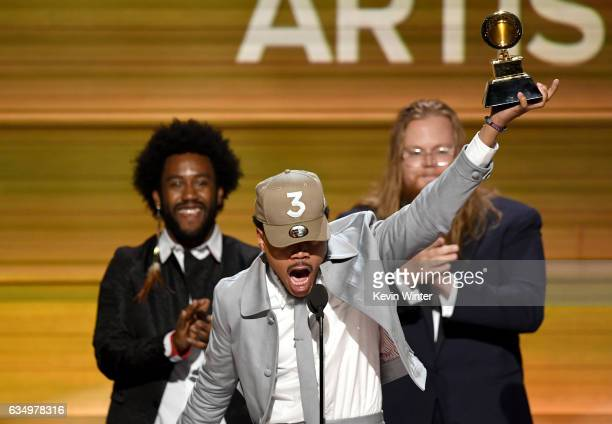 Recording artist Chance the Rapper accepts the Best New Artist artist award onstage during The 59th GRAMMY Awards at STAPLES Center on February 12...