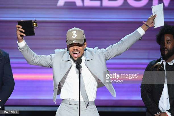 Recording artist Chance the Rapper accepts the Best Rap Album award for 'Coloring Book' onstage during The 59th GRAMMY Awards at STAPLES Center on...
