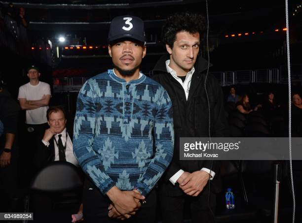 Recording artist Chance the Rapper and guest backstage at The 59th GRAMMY Awards at STAPLES Center on February 12 2017 in Los Angeles California