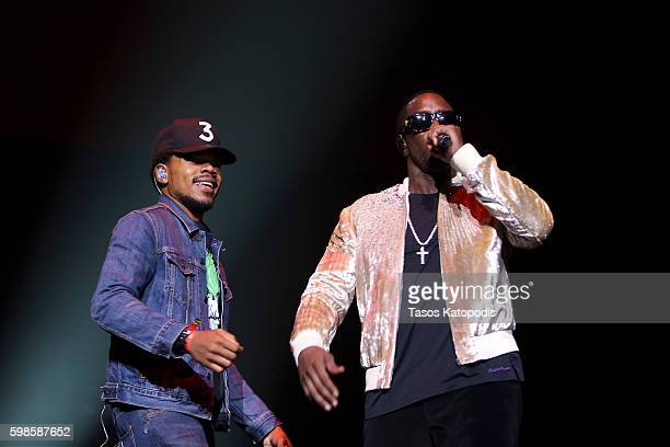 Recording artist Chance The Rapper and Puff Daddy perform on stage during the Live Nation presents Bad Boy Family Reunion Tour sponsored by Ciroc...