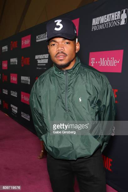 Recording artist Chance The Rapper arrives on TMobile's magenta carpet duirng the Showtime WME IME and Mayweather Promotions VIP PreFight Party for...