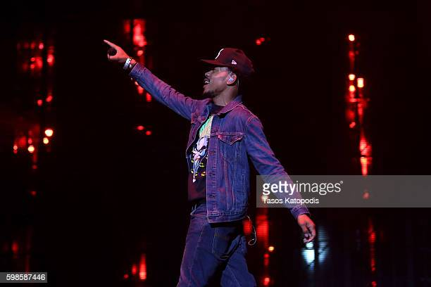 Recording artist Chance The Rapper performs on stage during the Live Nation presents Bad Boy Family Reunion Tour sponsored by Ciroc Vodka AQUAhydrate...