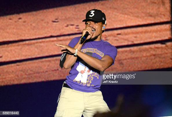 Recording artist Chance the Rapper performs onstage with J Cole at What Stage during Day 2 of the 2016 Bonnaroo Arts And Music Festival on June 9...