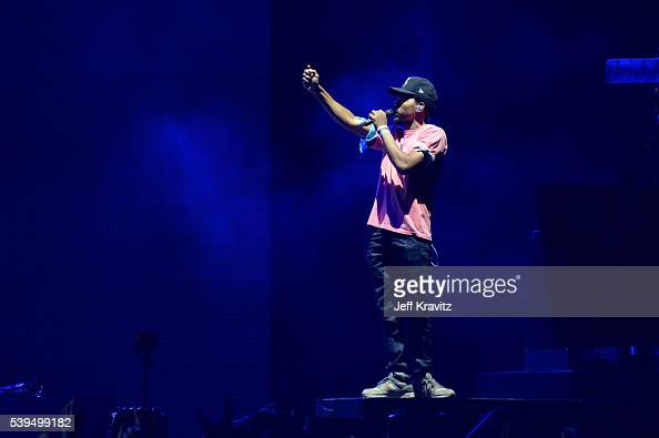 Recording artist Chance The Rapper performs onstage with Macklemore at What Stage during Day 3 of the 2016 Bonnaroo Arts And Music Festival on June 9...