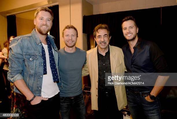 Recording artist Charles Kelley of Lady Antebellum recording artist Dierks Bentley actor Joe Mantegna and recording artist Luke Bryan attend ACM...