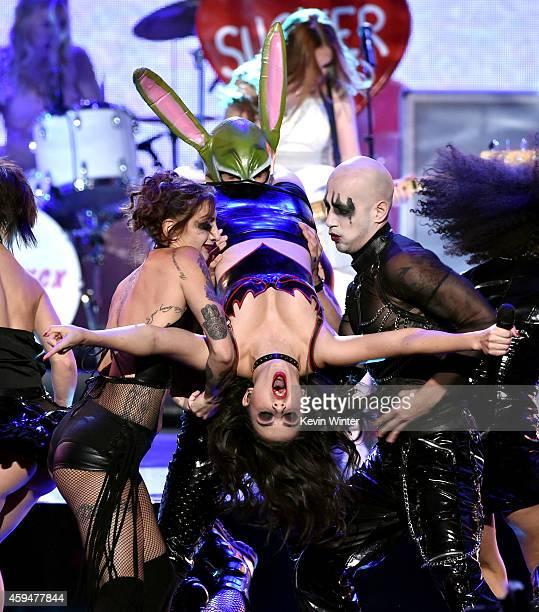 Recording artist Charli XCX performs onstage at the 2014 American Music Awards at Nokia Theatre LA Live on November 23 2014 in Los Angeles California