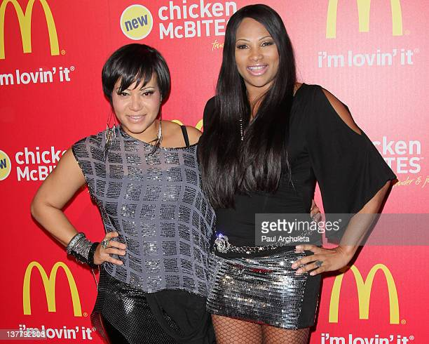 Recording Artist Cheryl James and Sandy Denton of SaltNPepa attend McDonald's new chicken McBites launch party at Siren Studios on January 26 2012 in...
