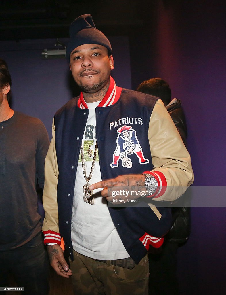 Recording artist <a gi-track='captionPersonalityLinkClicked' href=/galleries/search?phrase=Chinx&family=editorial&specificpeople=8752901 ng-click='$event.stopPropagation()'>Chinx</a> Drugz backstage at Best Buy Theater on March 3, 2014, in New York City.