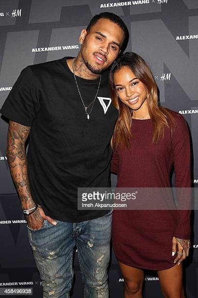 Recording artist Chris Brown and model Karrueche Tran attend the Alexander Wang x HM PreShop Party at HM on November 5 2014 in West Hollywood...