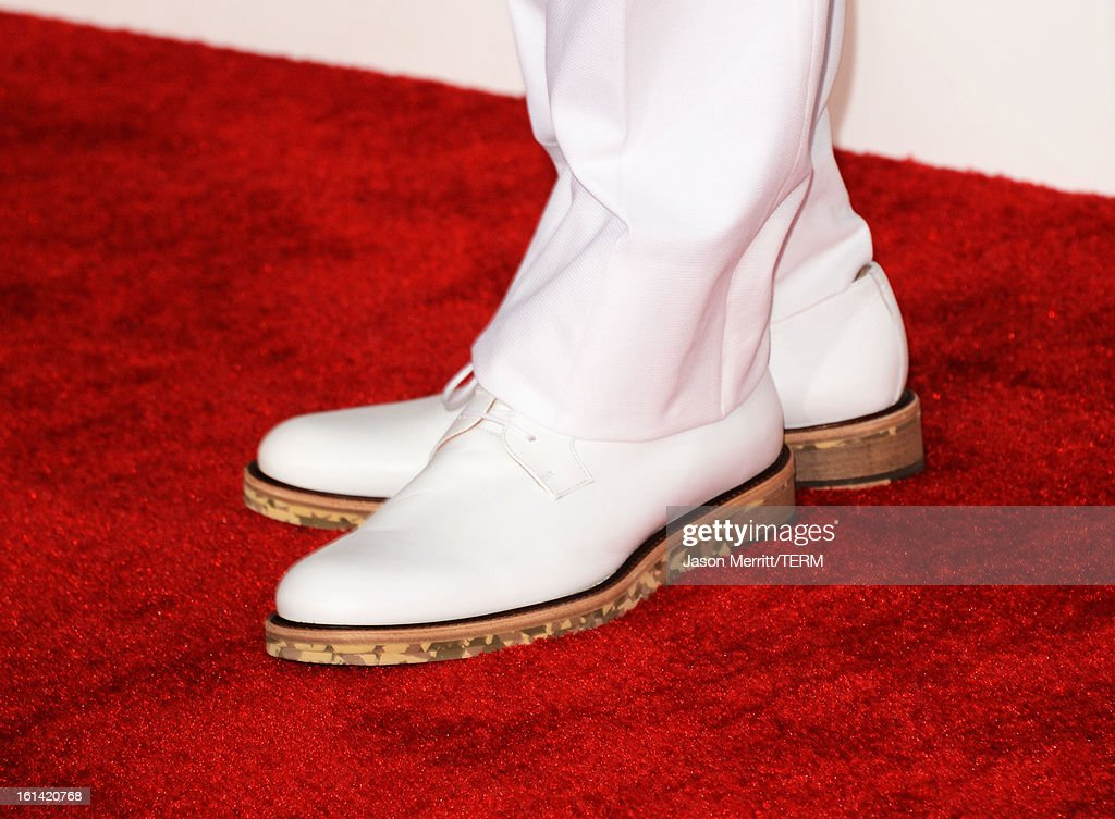 Recording artist Chris Brown (shoe detail) arrives at the 55th Annual GRAMMY Awards at Staples Center on February 10, 2013 in Los Angeles, California.