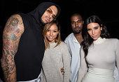 Recording artist Chris Brown model Karrueche Tran Kanye West and TV personality Kim Kardashian attend Teyana Taylor's VII listening event presented...
