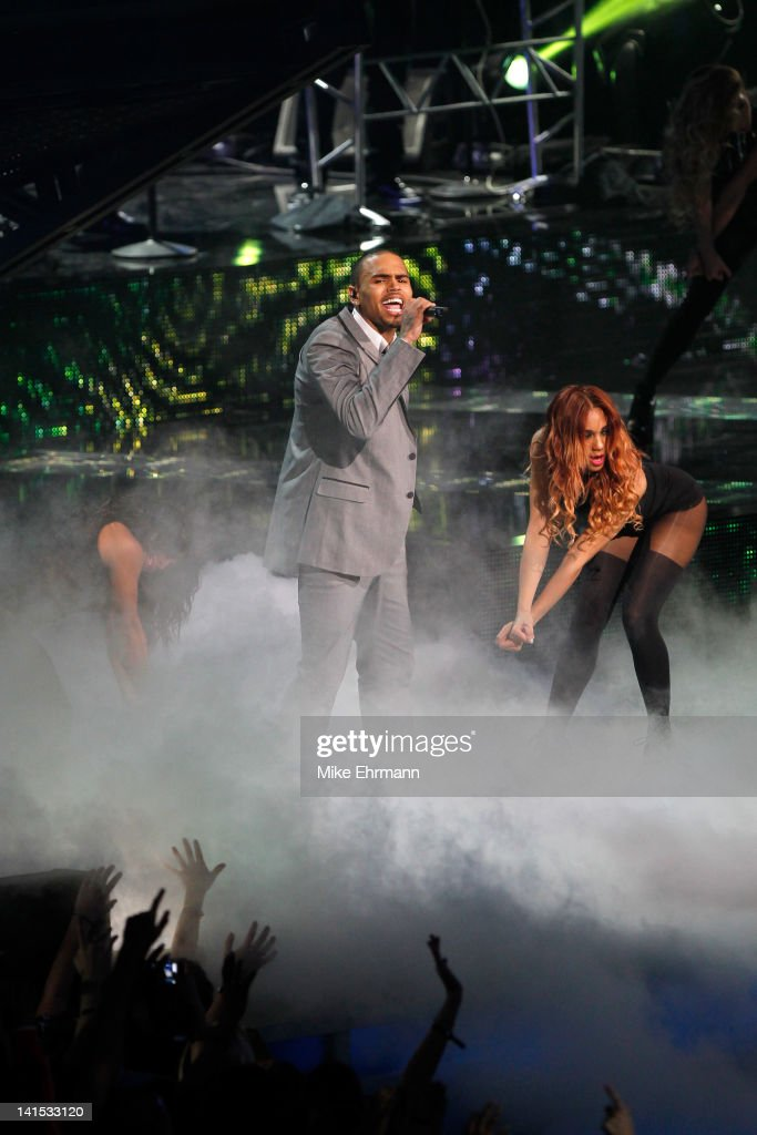 Recording artist Chris Brown performs at halftime during the 2012 NBA All-Star Game at the Amway Center on February 26, 2012 in Orlando, Florida.