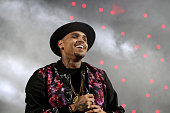 Recording artist Chris Brown performs onstage at the Mary J Blige Trey Songz And Jennifer Hudson Concert Presented By Kingcom during the 2014 BET...