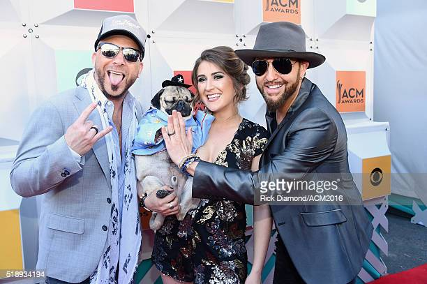 Recording artist Chris Lucas of LOCASH Doug the Pug and owner Leslie Mosier and recording artist Preston Brust of LOCASH attend the 51st Academy of...