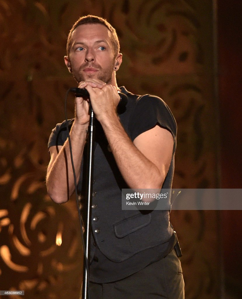 Recording artist Chris Martin onstage during The 57th Annual GRAMMY Awards at the STAPLES Center on February 8 2015 in Los Angeles California