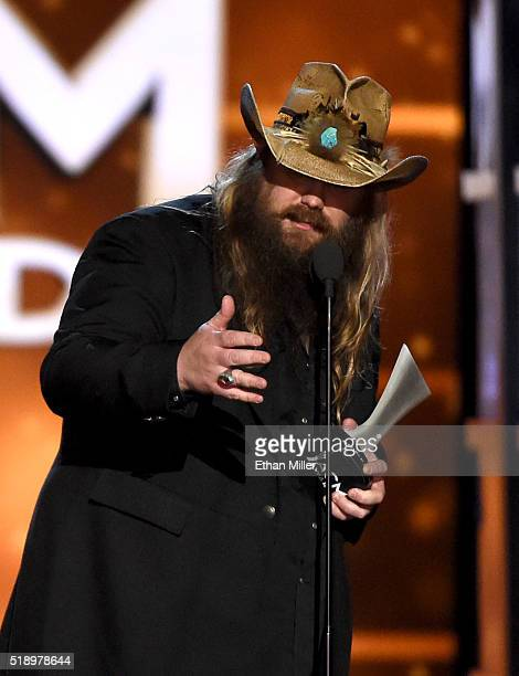 Recording artist Chris Stapleton accepts the Male Vocalist of the Year award onstage during the 51st Academy of Country Music Awards at MGM Grand...