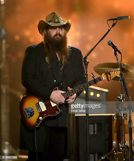 Recording artist Chris Stapleton performs onstage during the 51st Academy of Country Music Awards at MGM Grand Garden Arena on April 3 2016 in Las...