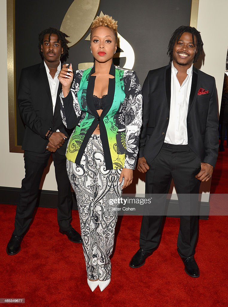 Recording artist Chrisette Michele (center) attends the 56th GRAMMY Awards at Staples Center on January 26, 2014 in Los Angeles, California.