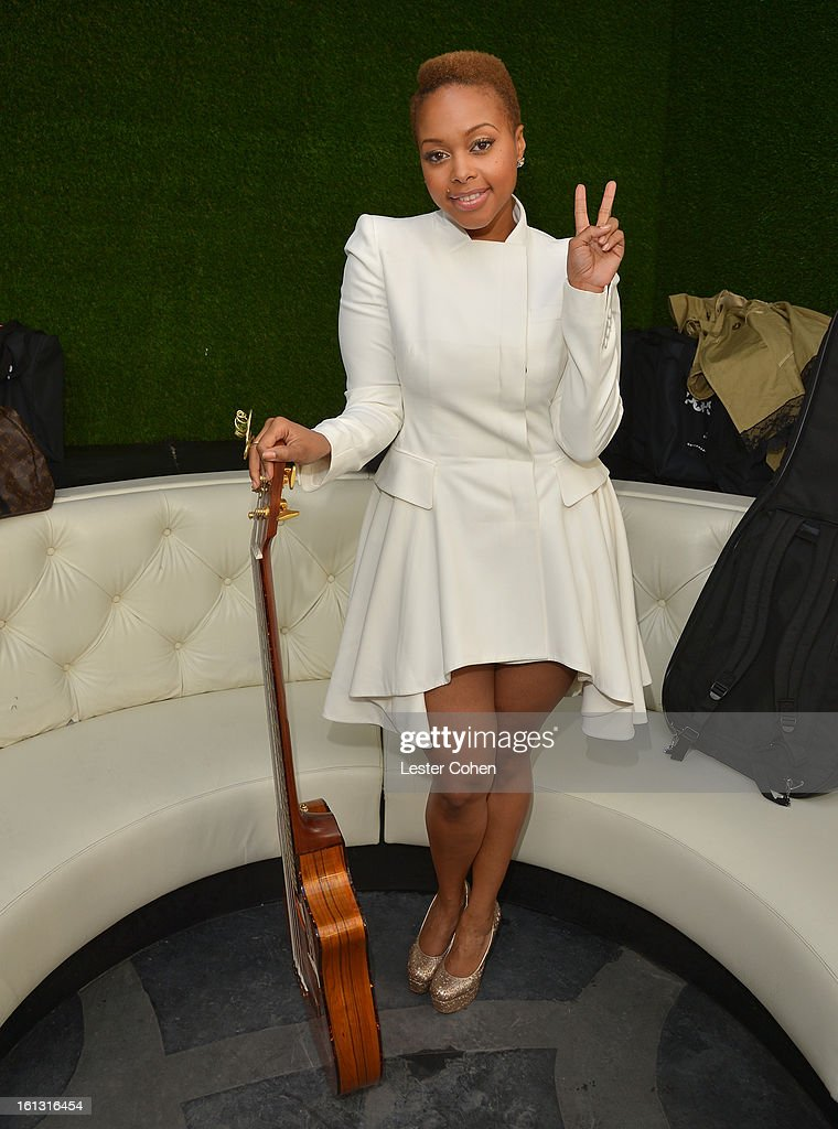 Recording artist <a gi-track='captionPersonalityLinkClicked' href=/galleries/search?phrase=Chrisette+Michele&family=editorial&specificpeople=4074495 ng-click='$event.stopPropagation()'>Chrisette Michele</a> attends Universal Music Group Showcase '13 Backstage at Lure on February 9, 2013 in Hollywood, California.