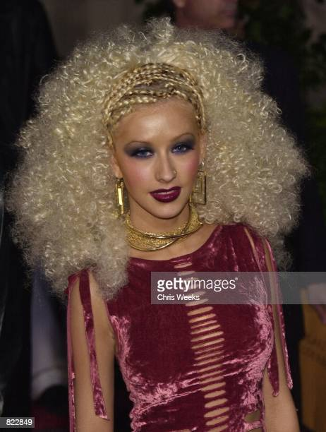 Recording artist Christina Aguilera arrives at the 7th Annual Blockbuster Awards April 10 2001 at the Shrine Auditorium in Los Angeles CA