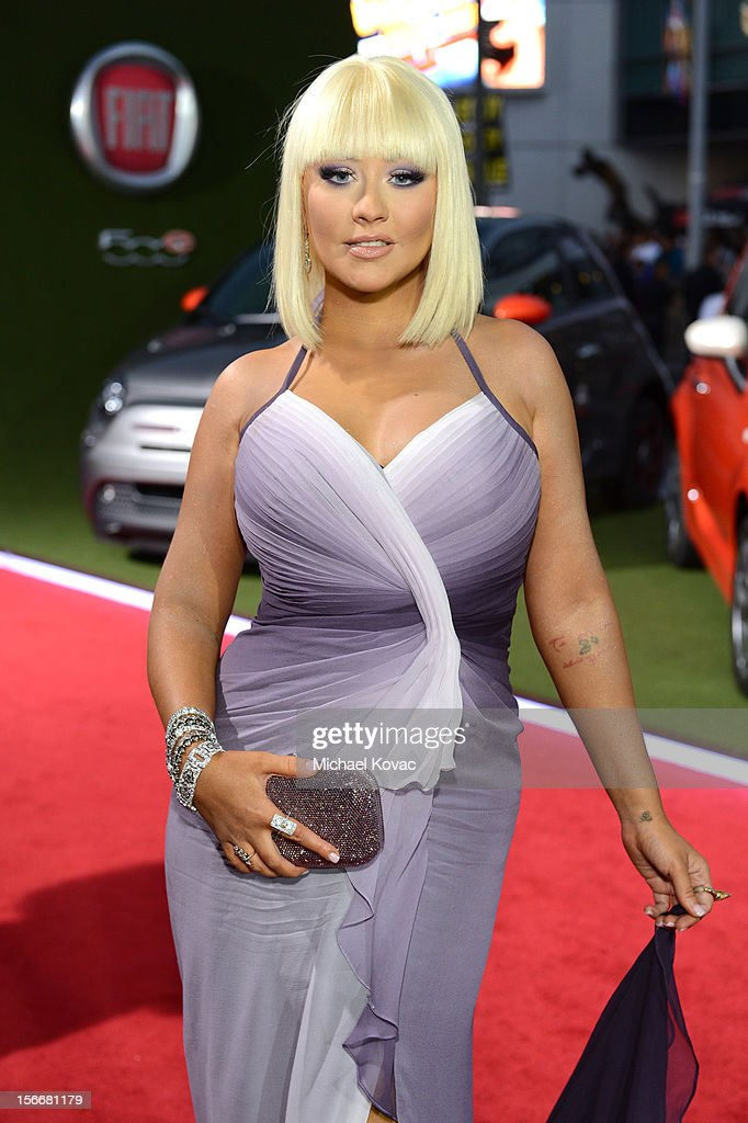 Recording artist <a gi-track='captionPersonalityLinkClicked' href=/galleries/search?phrase=Christina+Aguilera&family=editorial&specificpeople=171272 ng-click='$event.stopPropagation()'>Christina Aguilera</a> at Fiat's Into The Green during the 40th American Music Awards held at Nokia Theatre L.A. Live on November 18, 2012 in Los Angeles, California.