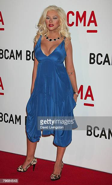 Recording artist Christina Aguilera attends the Broad Contemporary Art Museum opening at LACMA February 9 2008 in Los Angeles California