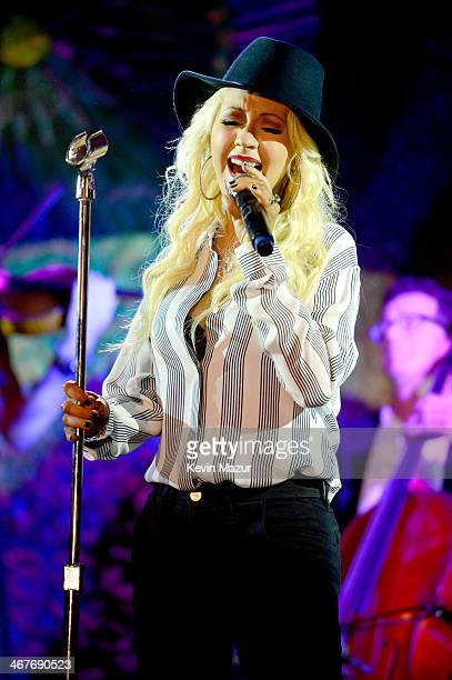 Recording artist Christina Aguilera performs onstage during Hollywood Stands Up To Cancer Event with contributors American Cancer Society and Bristol...