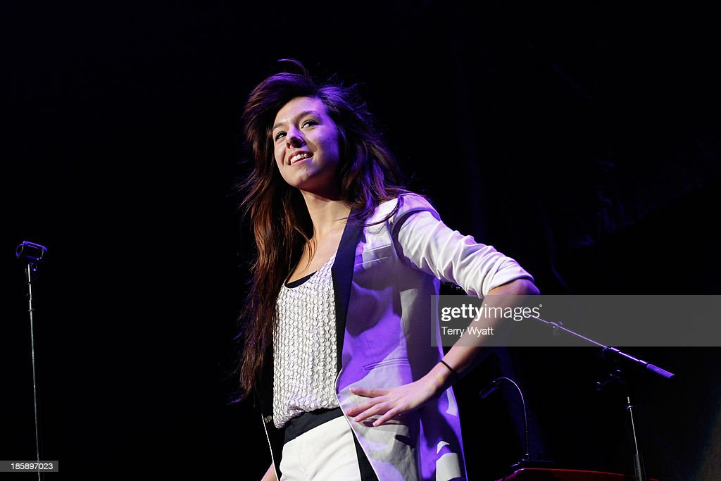 Recording artist <a gi-track='captionPersonalityLinkClicked' href=/galleries/search?phrase=Christina+Grimmie&family=editorial&specificpeople=7293581 ng-click='$event.stopPropagation()'>Christina Grimmie</a> performs at the Bridgestone Arena on October 25, 2013 in Nashville, Tennessee.