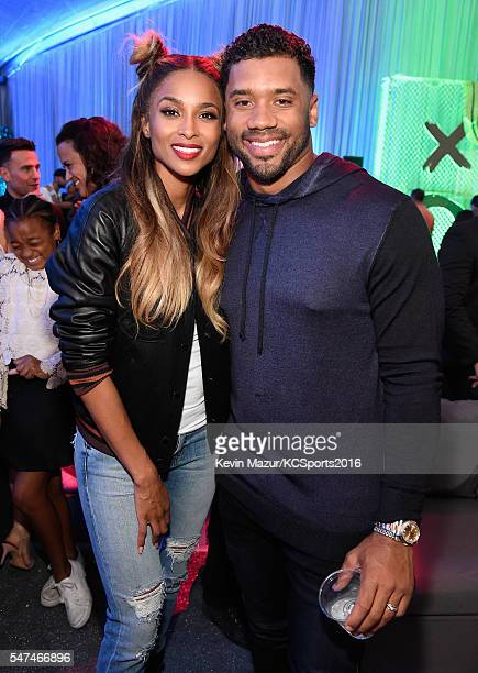 Recording artist Ciara and football player Russell Wilson attend the Nickelodeon Kids' Choice Sports Awards 2016 at UCLA's Pauley Pavilion on July 14...